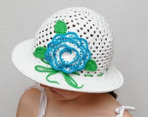 Floral Crochet hat Girls sun hat with rose Girls summer hat brim hat Crochet girls hats Beach hat girls accessories Photo Prop kids hats