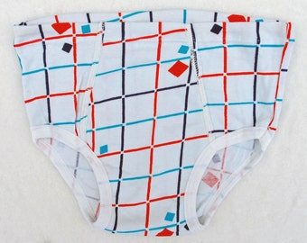 Men's cotton briefs Size S, Vintage mens underwear, Teen boys fashion, White, red, blue plaid print underpants USSR 90s, Father's day gift