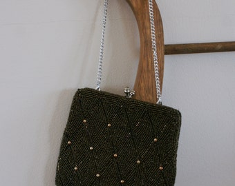 Vintage 1950's Small Brown Seed Bead Evening Bag/Coin Purse/Clutch Styled by Artel Montreal Made in Korea BT-361
