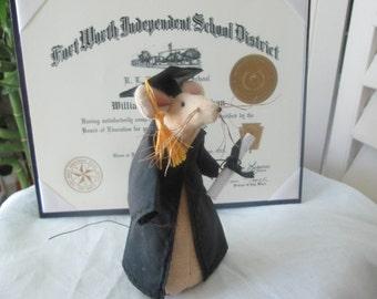 Graduation Gift , Graduation Mouse , Handmade Fabric Mouse , Folk Art