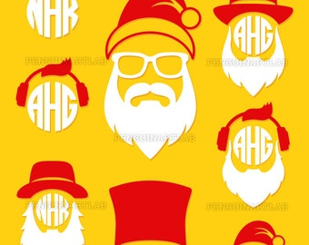 Santa Claus Hats and Beards SVG Monogram Files - Christmas Cut Files for Vinyl Cutting Machines, Cricut, Silhouette, Graphtec, Dxf, Eps, Png