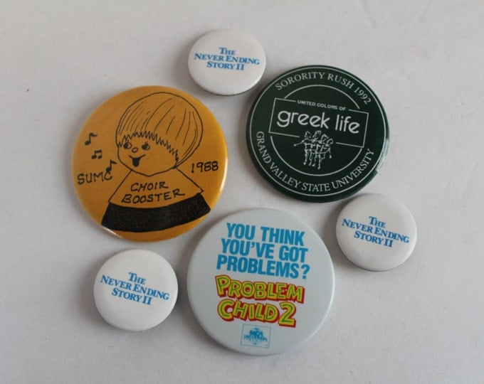 Vintage Pins, Pins and Buttons, Pins for Jackets, Pins for Backpacks, Set of 6