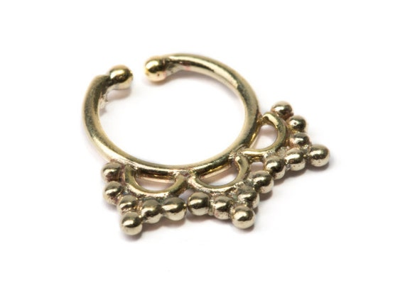 Septum Ring Brass Nickel Free Septum Fake Septum Tribal Jewelery Indian Nose Ring B40 Gift Boxed and Gift Bag Free UK Delivery