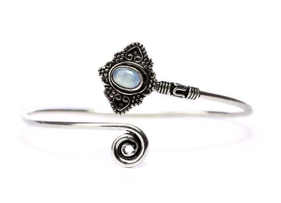 Boho Tribal Bangle Moonstone Gemstone Bracelet Adjustable Gift Boxed + Giftbag + Free UK Delivery WBB25