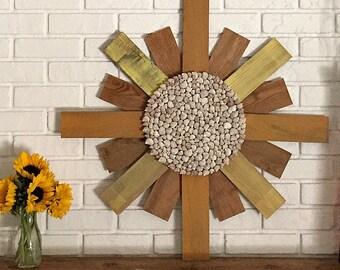 Large Mantle Decor, Wood Sunburst, Rustic Beach Decor, Foyer Decor, Wood Sun, Entryway Art, Beach House Decor, Coastal Decor, Seashell Art