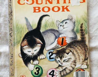 Vintage (1980s) children's book, 'My First Counting Book', a Little Golden Book by Lilian Moore, illustrations by Garth Williams