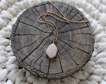 Vintage Gold Chain Necklace With Pink Stone Pendant