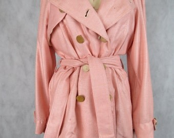 Pink Trench Coat - All Seasons - Size 8-12 - ONE OF A KIND