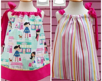 Pillowcase Dress Pattern 1 - 6 years with a bow , INSTANT DOWNLOAD : Girls Dress Pattern, Easy Sewing Patterns, Toddler Pillowcase