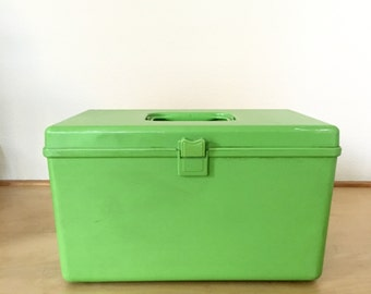 Vintage Green Carrying Case / Sewing Box / Craft Storage / Lime Green Tote Box / Hard Acrylic Storage Container / Retro Caddy Case