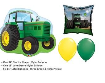 John Deere Balloon with Tractor Shape Mylar Balloon and Yellow and Green Latex Balloons