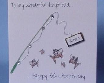 Personalised Handmade Fishing Birthday Card. Husband,Dad, Grandad, Uncle, Nephew, Boyfriend, Brother, Son, Friend, Sister, Mum, Daughter,Age
