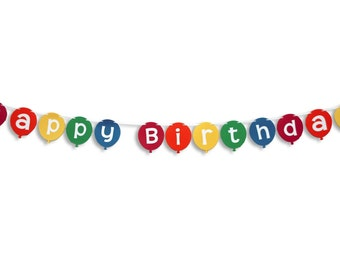 HAPPY BIRTHDAY Balloon Banner, Happy Birthday Balloon Garland, Birthday Banner, Birthday Garland, Birthday decoration, Bunting