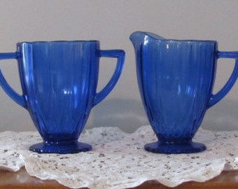 "Cobalt Blue Newport ""Hairpin"" Sugar and Creamer by Hazel-Atlas.  Mint Vintage Condition."