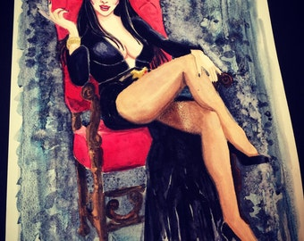 Elvira watercolor original painting