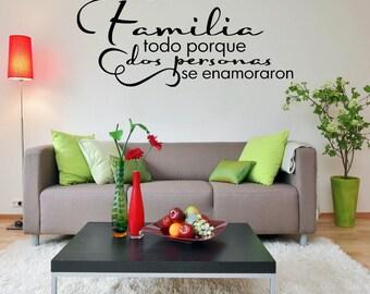 Spanish Wall Decal - Familia todo porque dos personas se enamoraron - Home Wall Decal Vinyl Lettering SP005