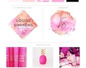 Branding Package - Photography Logo Makeup Artist Logo - Orange Pink Watercolor Logo  Event Planner Logo Fashion Blog Boutique Business Logo