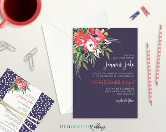 Romantic Floral Wedding Invitation Suite // 5x7 Invitation // Choose Your Set! // The Jenna Collection // PRINTABLE
