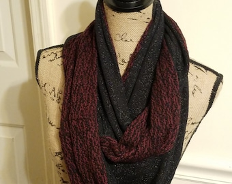 Reversible black and maroon Infinity scarf