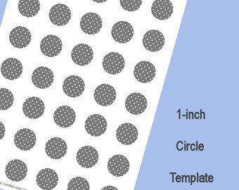 9 inch circle template - items similar to 5 sheets one inch round bottle cap