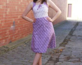Vintage 1970s Purple Floral Sundress   Cotton Sundress   White Floral Sundress   S