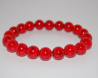 Red Coral Gemstone Bracelet,10mm Round Beads,Elastic Bracelet,Red Bracelet,Gemstone Stretch Bracelet,Men,Women,Beaded Jewelry,Yoga,Boho