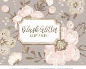 Floral Clip Art | Hand Painted Blush Flowers Glitter foliage Graphics | Scrap book, Invites, Blog Design | Digital Cliparts