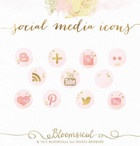 Icônes de médias sociaux | Aquarelle de glam clinquant d