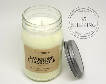 Large Lavender Candle scented with Chamomile and soy wax - Sleep Candle for Aromatherapy