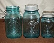 Bicentennial & Antique Perfect Blue Mason Canning Jars Zinc Lid 1920s Quart Pint