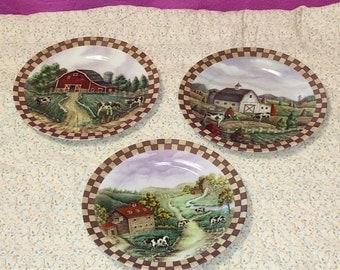3 Vintage Barnyard Cows Farm Plates with Two Tone Brown Checkerboard Border EUC