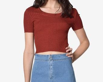 Deadstock Denim Zip Front Mini Skirt ~ Medium Blue, Chambray, Large Only