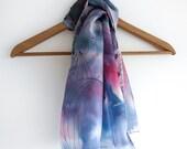 hand drawn silk scarf - shades of purple - 100% silk