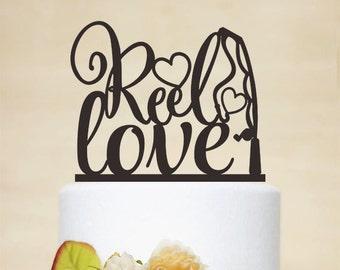 Reel Love Cake Topper,Wedding Cake Topper,Engagement Cake Topper,Custom Cake Topper,Unique Cake Topper,Fishing Cake Topper P160