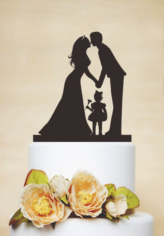 wedding cake topper with child wedding cake toppercouple silhouette with a litter 26657