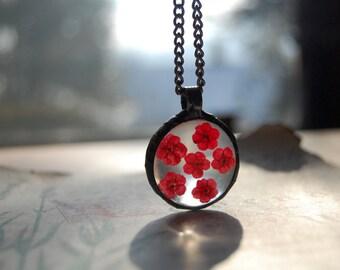 TERRARIUM necklace, wildflower necklace, hot pink necklace, terrarium jewelry, gift, plant jewelry, botanical jewelry, pressed flower
