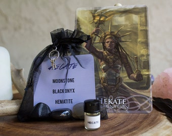Hecate Crystal Kit - Magick, Divination, Witchcraft, Crossroads, Night, Crone Wisdom, Justice, Banishing, Protection