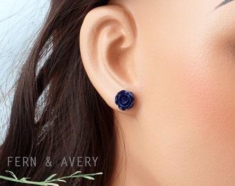 Dark navy blue rose flower post earrings, sterling silver, elegant dainty