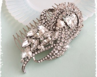 "1920s Art Deco Great Gatsby Inspired Crystal Pearl Comb Wedding Hair Accessory-Vintage Art Deco Bridal Crystal Comb Headpiece-""SARA pearl"""