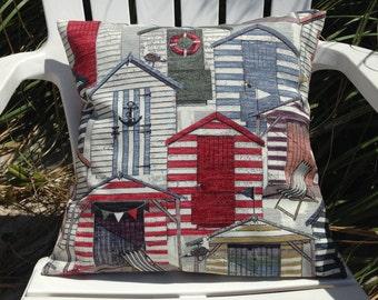 "Beach House Pillow Cover 18"" x 18"", Beach House Pillow, Beach Decor, Beach Throw Pillows, Red Pillow Cover, Beach Houses, Ocean Decor"