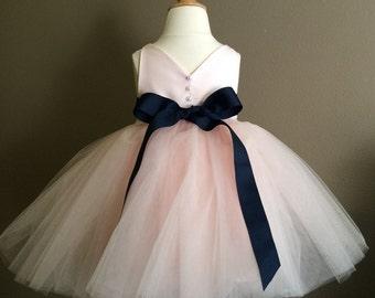 Hello Cupcake Blush Pink Flower Girl Dress with Navy Ribbon Sash