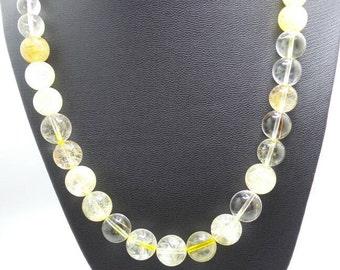 Golden Rutilated Quartz Beaded Necklace.