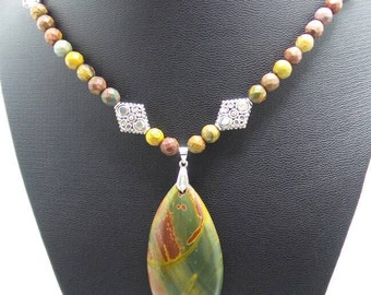 Picasso Jasper Beaded Necklace with Picasso Jasper Pendant.