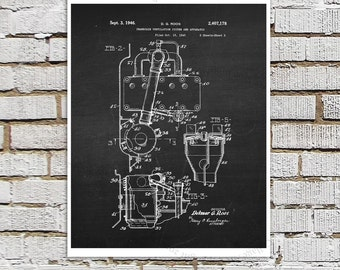 Willys Jeep Patent Print # 7, one single unframed art print, Vintage Jeep crankcase parts patent, Jeep Gift idea, Jeep Wall Decor