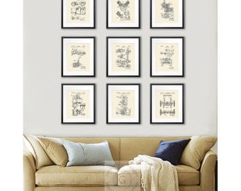 Jeep Willys Home Decor set of 9 prints, Man Cave Decor, Office Decor, Gift for soldier, Gift for Dad, Army Military Transport Patent Prints
