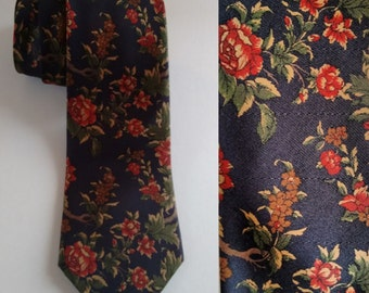 Navy Blue Silk Classic Rose Floral Red Green Gold Neck Tie
