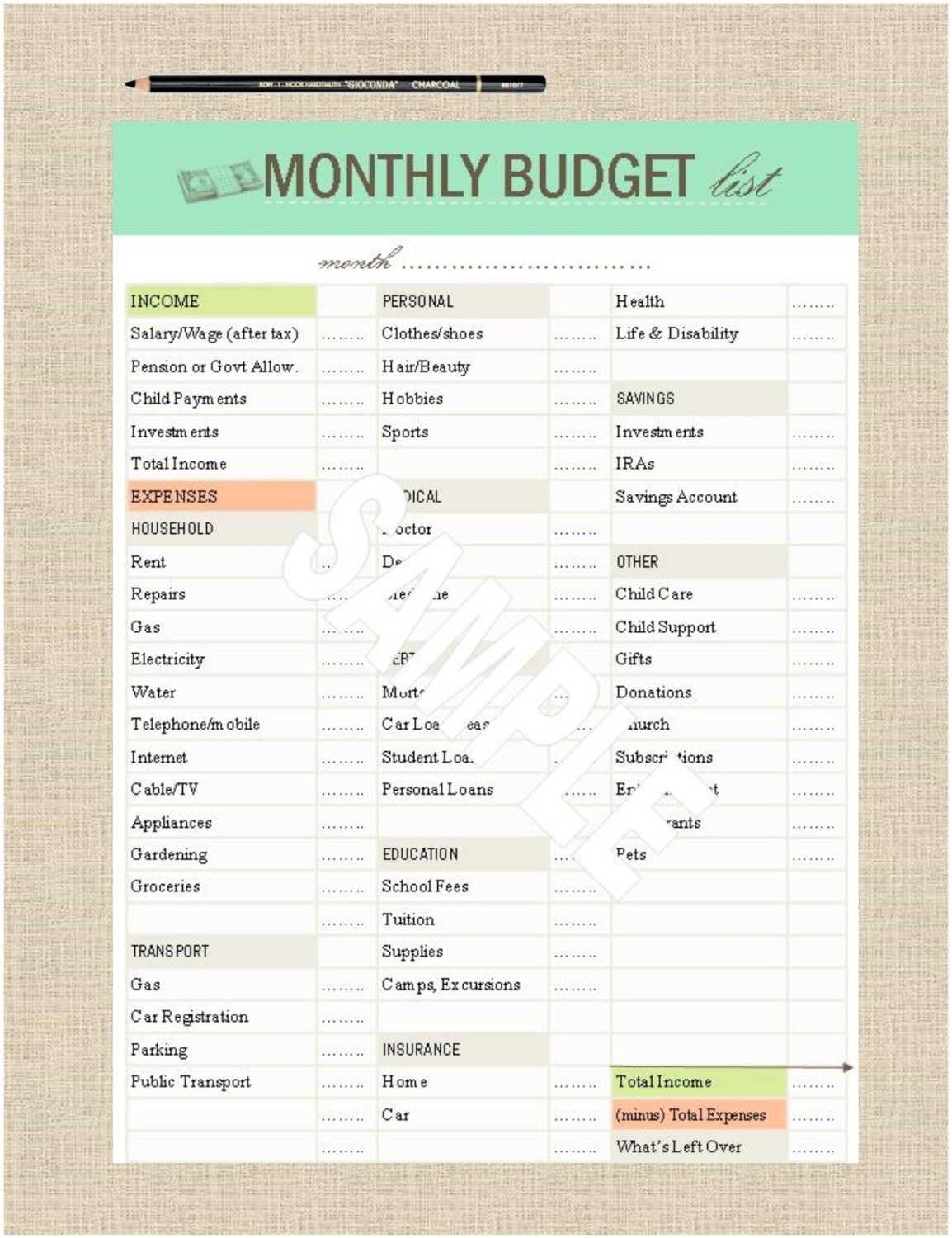 monthly budget list