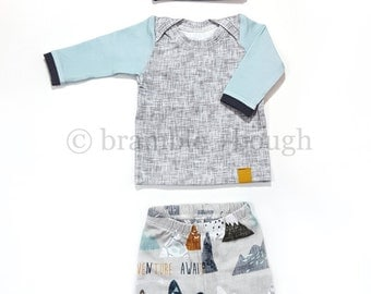 Mountain Adventure Coming Home Outfit, Baby Boy, Leggings, Shirt, and Matching Knot Hat, Size Newborn, 0-3 mos, 3-6 mos, 6-9 mos