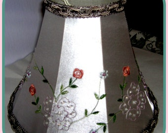 Silver Satin Flower Embroidered Lamp Shade