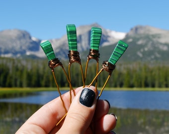 Malachite Stone Hair Pins, Crystal Hair Accessories, Green Crystal Hair Pins